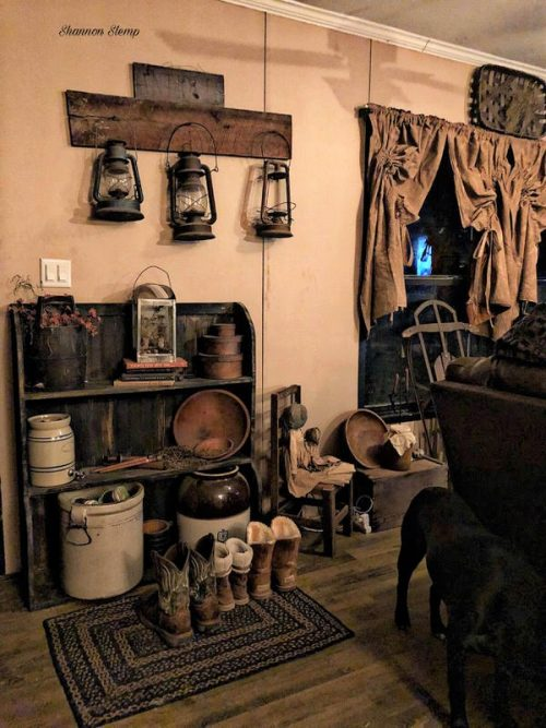 primitive decor in a mobile home - lantern collection