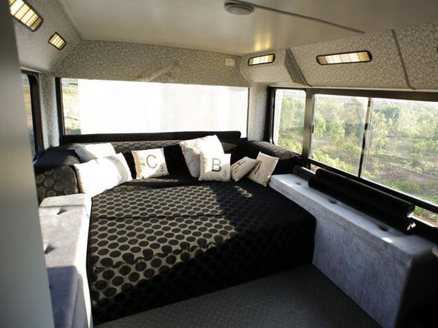 vintage buses-Abondoned Bus Remodeled into beautiful mobile home - Sleeping area