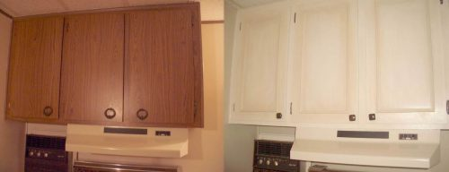 Amazing mobile home upper kitchen cabinets before and after paint