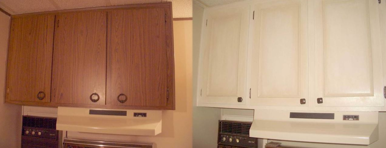 Makeover The Upper Kitchen Cabinets Before And After Paint And New