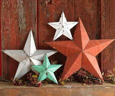 Barn stars used in primitive country decor