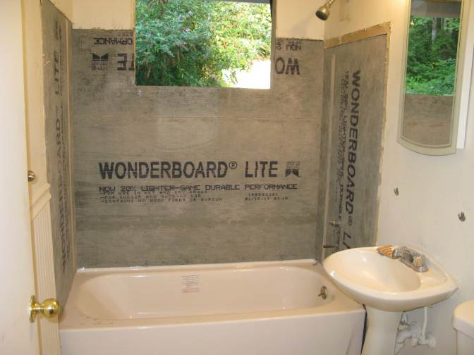 Bathroom 1 - Cement board installed to create waterproof barrier
