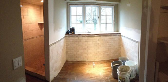 Amazing Bathroom Remodel During Remodel Tub area