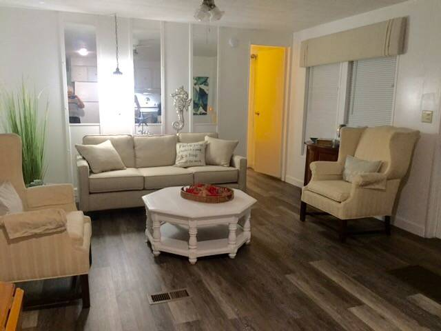 Beautiful $15,000 Single Wide Manufactured Home - gorgeous living room after makeover