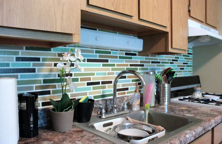 Affordable DIY Backsplash Mosaic Tile Paint Project Mobile Home