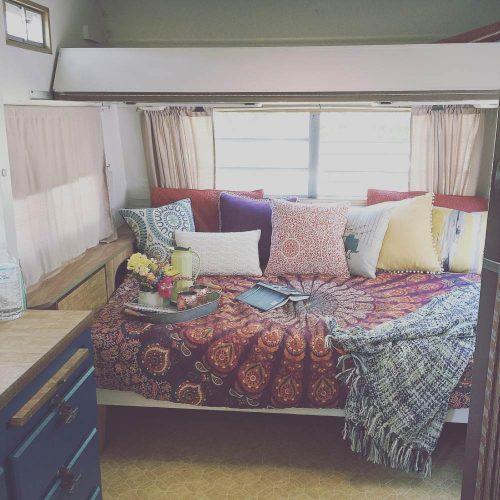colorful camper makeover-bed after