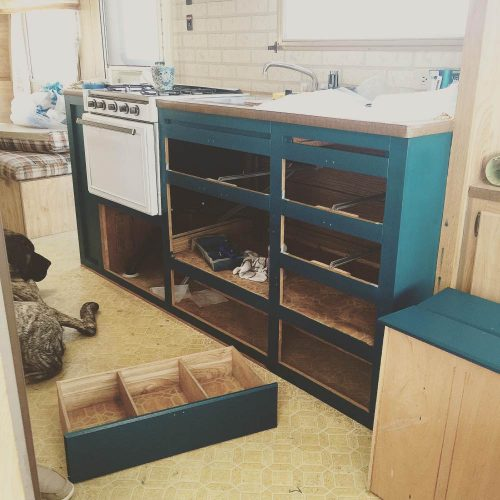 colorful camper makeover-cabinets during