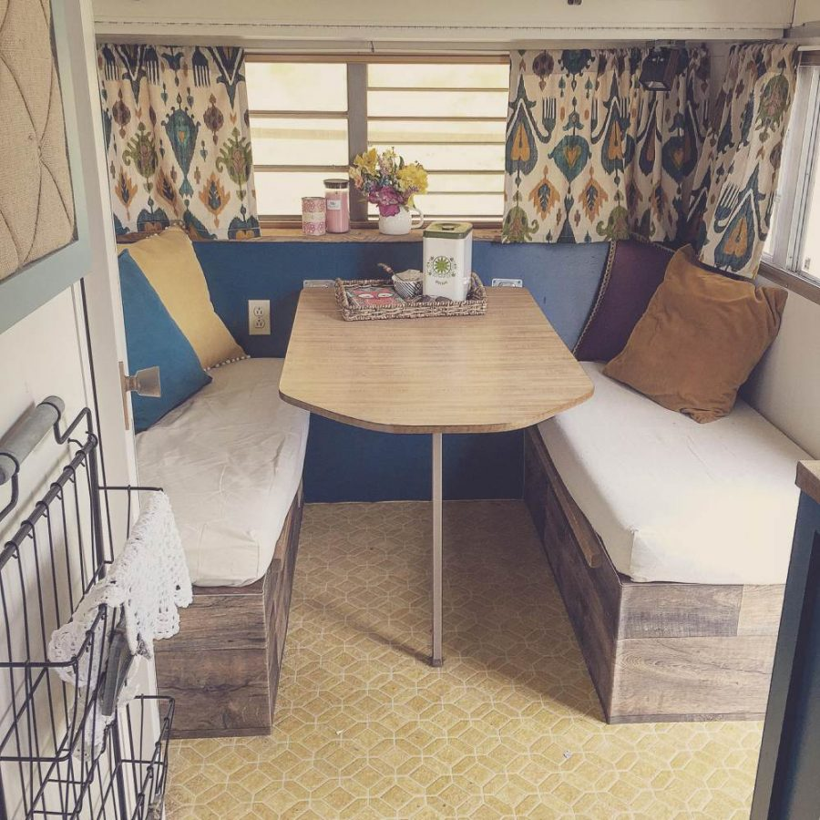 Chantel's Colorful Camper Makeover (eating area after makeover)