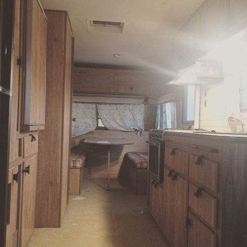 colorful camper makeover-interior before