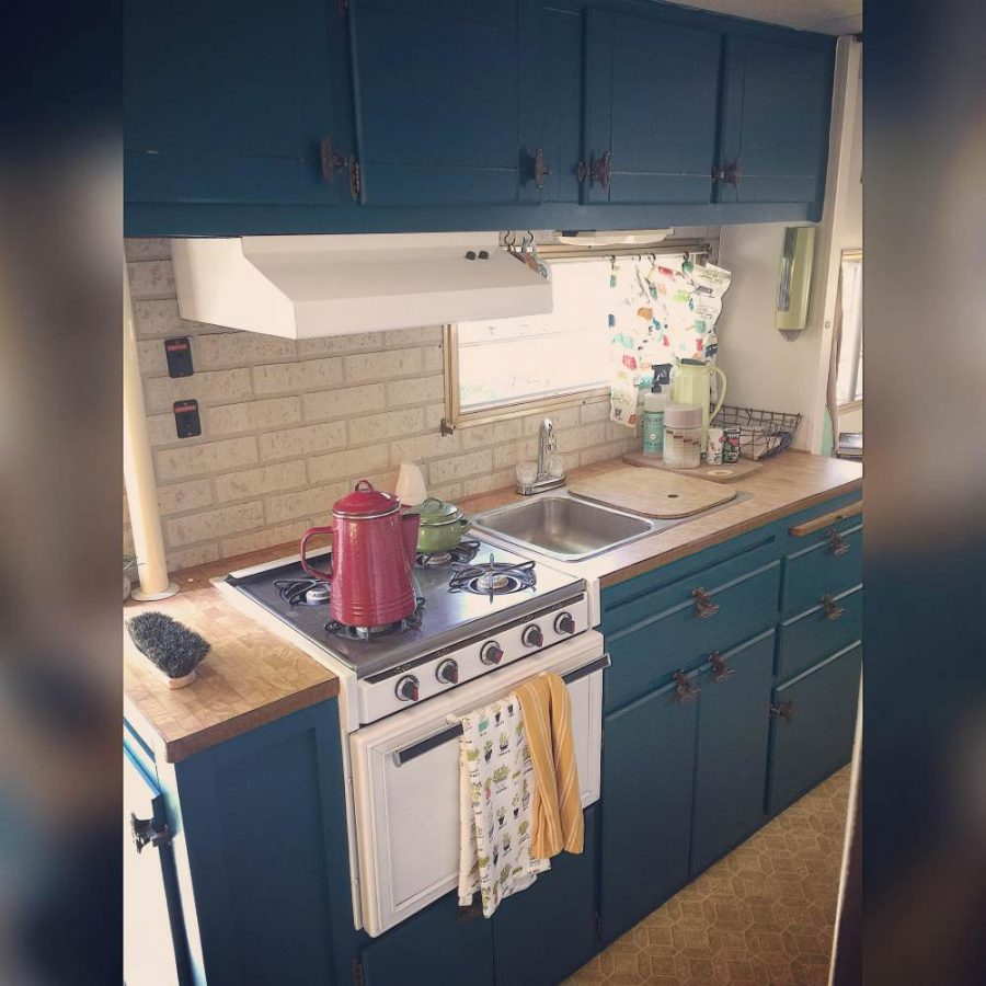 Chantel's Colorful Camper Makeover (kitchen after painting)