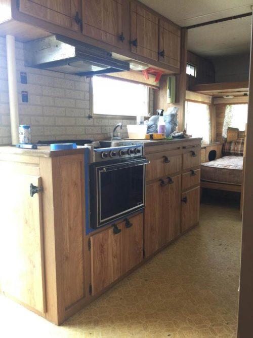 colorful camper makeover-kitchen before