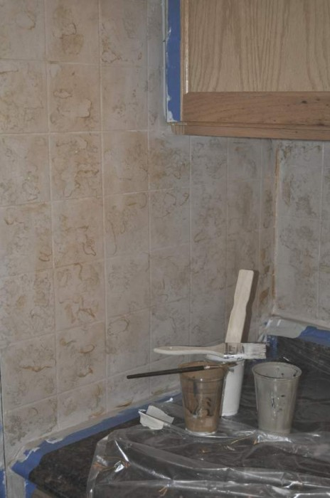 Cheap Backsplash Ideas - Painting Tileboard Paneling - after painting and glazing