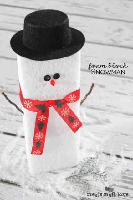 Cheap DIY Christmas Decorations Ideas - Foam Block Snowman