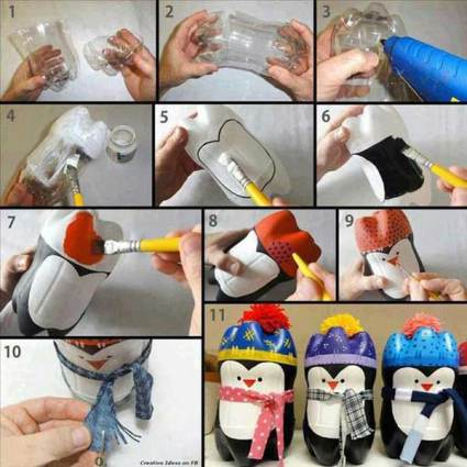 Christmas Penguin made from 2 lited soda bottle - affordable Christmas Decor Ideas - Christmas in a mobile home