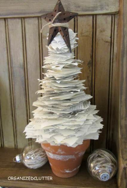 Christmas Tree made from book pages - Cheap DIY Christmas Decor