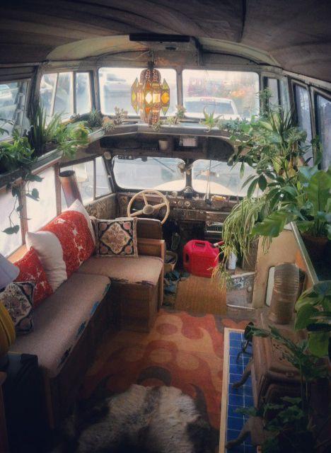 vintage buses-Cosmic Collider Vintage Bus Remodel - Living Area