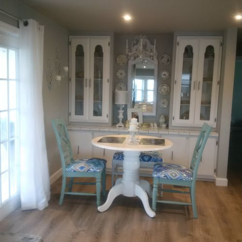 builtin hutch in dining room after $45,000 manufactured home renovation