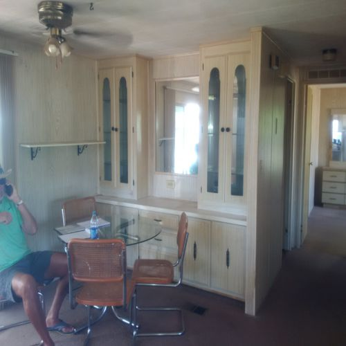 builtin hutch in dining room - $45,000 manufactured home renovation
