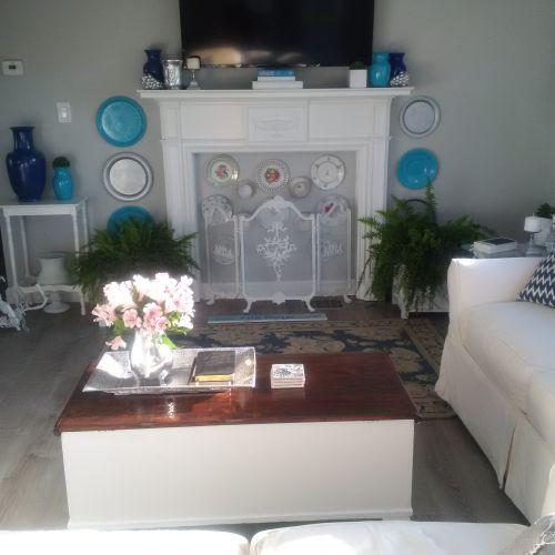 living room after - $45,000 manufactured home renovation