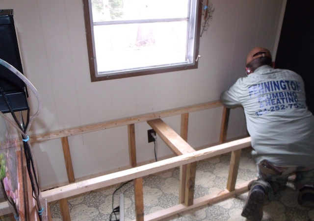 Creating Storage in a Mobile Home with a Window Seat - building the frame of the window seat