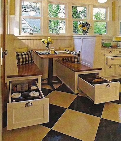Creating Storage in a Mobile Home with a Window Seat - example of storage in dining room seat