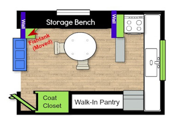 Creating Storage in a Mobile Home with a Window Seat - layout of kitchen and dining room