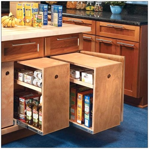 Creating Storage in a Mobile Home with a Window Seat - pullout cabinets in kitchen