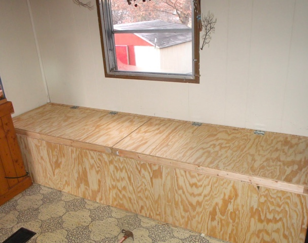 Creating Storage in a Mobile Home with a Window Seat - window seat completed