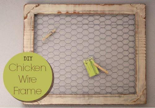 DIY Chicken Wire Frame Bulletin board - primitive country decor craft