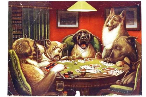 Dogs playing poker - free printables for wall art