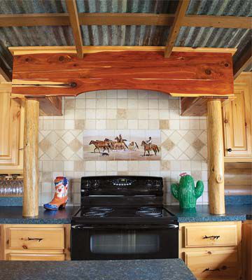 Down-home-on-the-range-stove in cabin kitchen_c