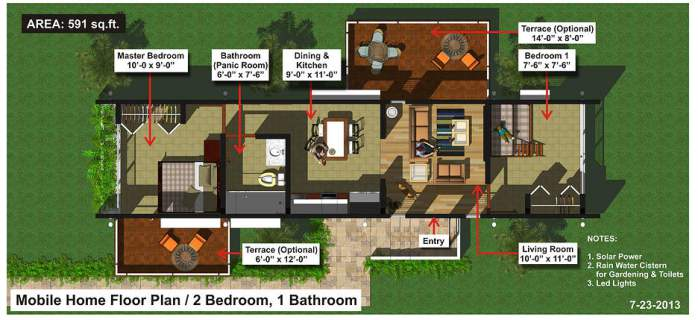 Evergreen Eco Homes - detailed floorplan 2 bdrm
