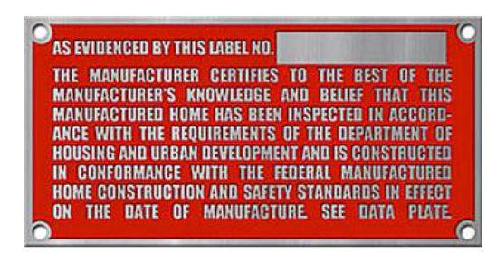 Example of a HUD Construction Code Label for a manufactured home