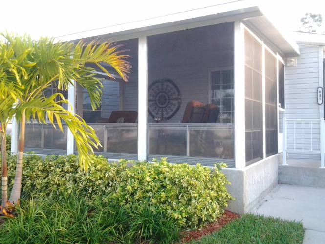 Florida double wide-FL Remodeled Manufactured Home Shines Bright (screened room)