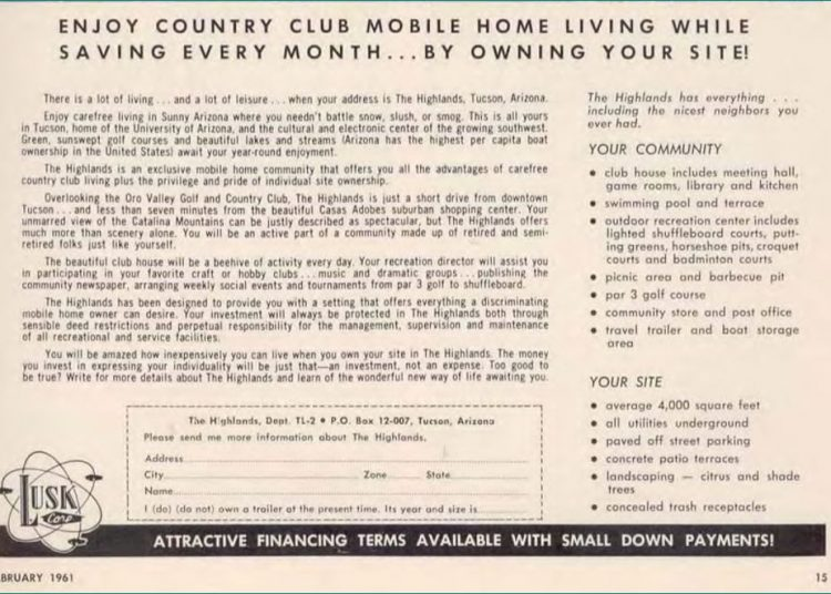 Feb 1961 Ad for Arizona Mobile Home Park