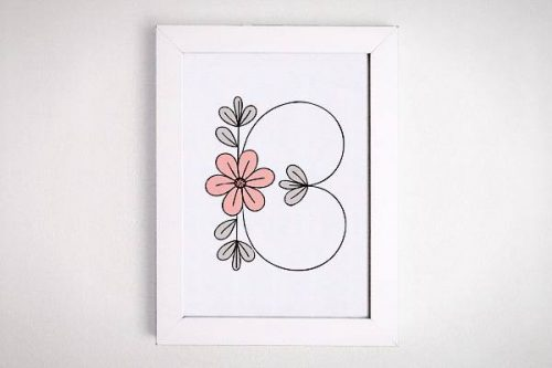 Free flower initial printable - wall art on a budget