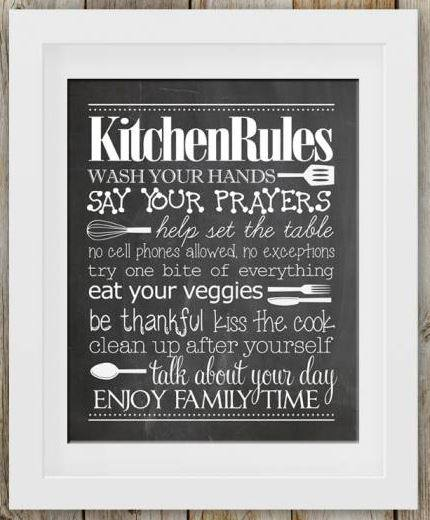 Free Kitchen Rules Chalk Printable - DIY Wall Art