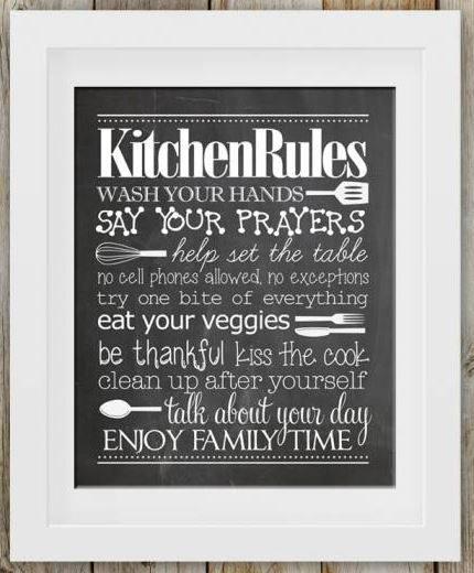 Free Kitchen Rules Chalk Printable - DIY Wall Art