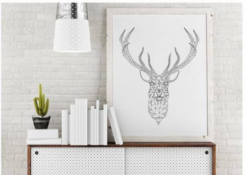 Free geometric Deer Printable - cheap wall art ideas