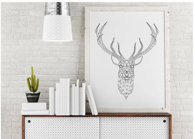 Free geometric Deer Printable - cheap wall art ideas  sc 1 st  Mobile Home Living & Create an Awesome Gallery Wall for Less Than $50!