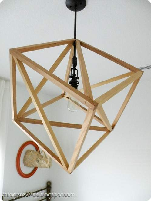 Unique Hanging Cube wood Ceiling Light DIY tutorial
