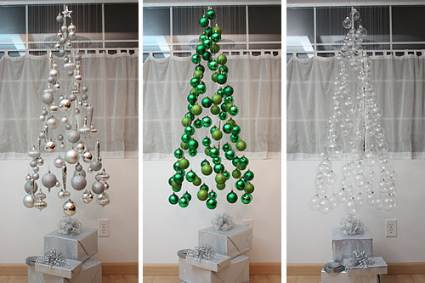 hanging ornaments tree cheap diy christmas decor ideas - Diy Christmas Decorations Ideas