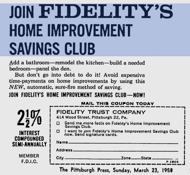 Home Improvement Savings Club Advertisment from 1958