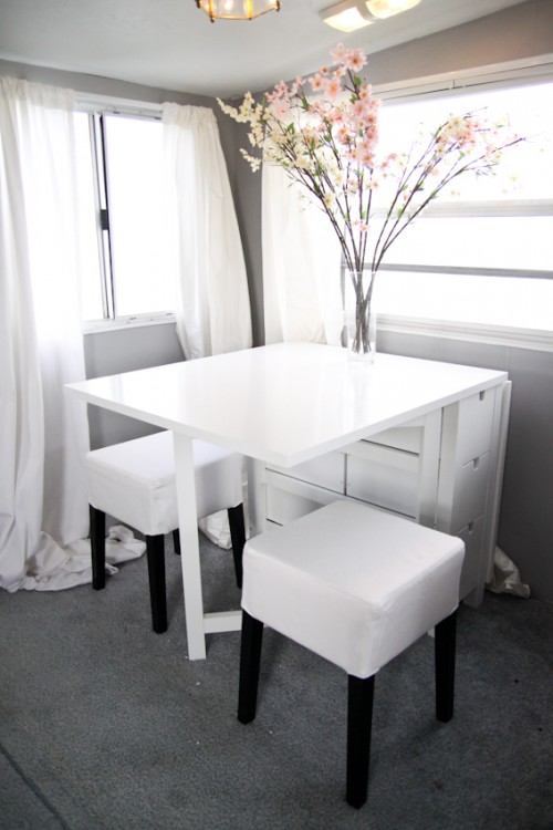 Modern Camper Makeover with White Dining Room Decor