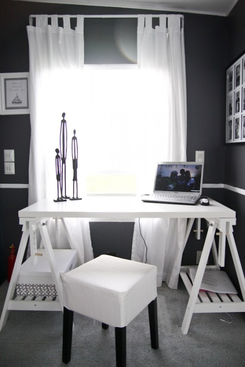 Modern Camper Makeover with Grey and White Office
