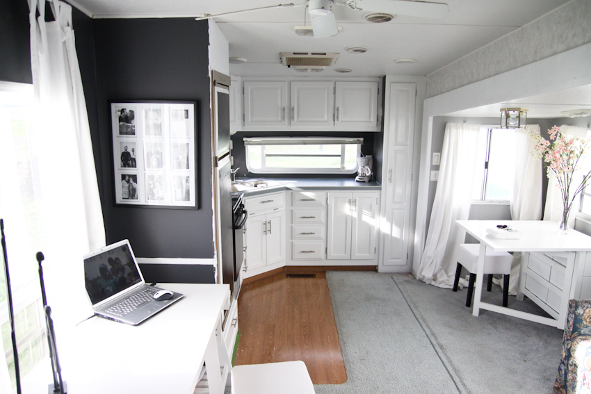 White Curtains black and white curtains ikea : makeover is dramatic. White cabinetry, gray backsplash and black ...