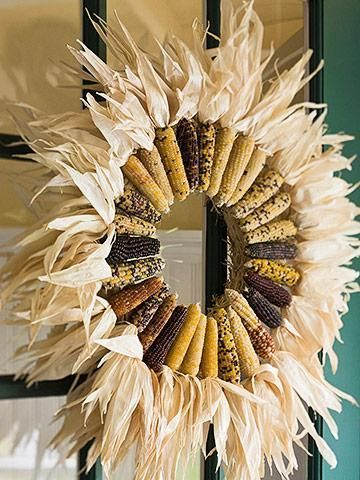 Indian Corn wreath - Fall decorating ideas you can actually afford