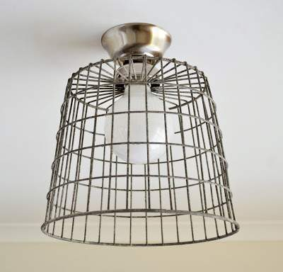 Industrial basket ceiling light - DIY