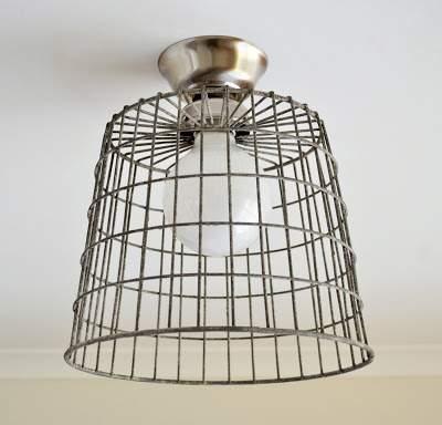 Industrial basket ceiling light - DIY
