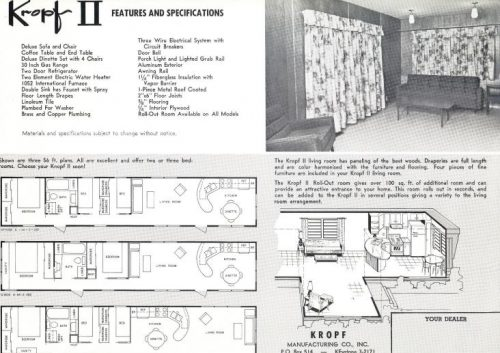 Kropf Floorplans - vintage mobile home and manufactured home floor plan